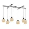 ELK lighting Fission 6 Light Pendant In Satin Nickel And Cloud Glass