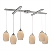 Favela 6 Light Pendant In Satin Nickel And Cocoa Glass