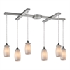 ELK lighting Favelita 6 Light Pendant In Satin Nickel And Cocoa Glass