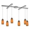 ELK lighting Favelita 6 Light Pendant In Satin Nickel And Honey Melon Glass