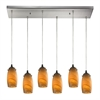 Favelita 6 Light Pendant In Satin Nickel And Honey Melon Glass