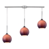 Cassandra 3 Light Pendant In Polished Chrome And Purple Glass