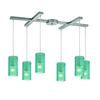 ELK lighting Ice Fragments 6 Light Pendant In Satin Nickel And Aqua Glass