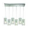 Ice Fragments 6 Light Pendant In Satin Nickel And Clear Glass