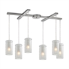 ELK lighting Synthesis 6 Light Pendant In Satin Nickel And Frosted Clear Glass