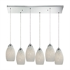 ELK lighting Etched Glass 6 Light Pendant In Polished Chrome And White Etched Glass