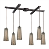 ELK lighting Jerard 6 Light Pendant In Oil Rubbed Bronze And Mercury Glass