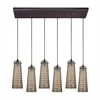 Jerard 6 Light Pendant In Oil Rubbed Bronze And Mercury Glass