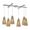 ELK lighting Mickley 6 Light Pendant In Satin Nickel And Amber Teak Glass