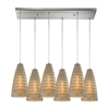 Mickley 6 Light Pendant In Satin Nickel And Amber Teak Glass