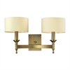 Pembroke 2 Light Wall Sconce In Brushed Antique Brass