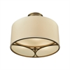 Pembroke 3 Light Semi Flush In Brushed Antique Brass With A Light Tan Fabric Shade