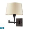 Swingarms 1 Light LED Swingarm Sconce In Aged Bronze With Beige Shade