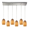 Andover 6 Light Pendant In Satin Nickel And Textured Beige Glass