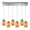 ELK lighting Andover 6 Light Pendant In Satin Nickel And Textured Beige Glass