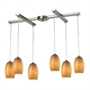 ELK lighting Andover 6 Light Pendant In Satin Nickel And Textured Beige Glass