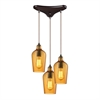 Hammered Glass 3 Light Pendant In Oil Rubbed Bronze And Amber Glass