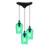 ELK lighting Hammered Glass 3 Light Pendant In Oil Rubbed Bronze And Aqua Glass