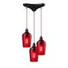 ELK lighting Hammered Glass 3 Light Pendant In Oil Rubbed Bronze And Red Glass