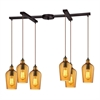 ELK lighting Hammered Glass 6 Light Pendant In Oil Rubbed Bronze And Amber Glass