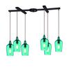 Hammered Glass 6 Light Pendant In Oil Rubbed Bronze And Aqua Glass