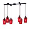 ELK lighting Hammered Glass 6 Light Pendant In Oil Rubbed Bronze And Red Glass