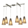 ELK lighting Ribbed Glass 6 Light Pendant In Satin Nickel And Mercury Glass