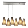 Ribbed Glass 6 Light Pendant In Satin Nickel And Mercury Glass