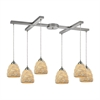 Shells 6 Light Pendant In Satin Nickel