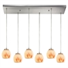 ELK lighting Melony 6 Light Pendant In Satin Nickel And Frosted Glass