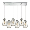 Orbital 6 Light Pendant In Polished Chrome And Clear Glass