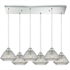 ELK lighting Orbital 6 Light Pendant In Polished Chrome And Clear Glass