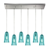 ELK lighting Hammered Glass 6 Light Pendant In Satin Nickel