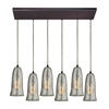 Hammered Glass 6 Light Pendant In Oil Rubbed Bronze