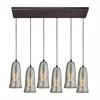 ELK lighting Hammered Glass 6 Light Pendant In Oil Rubbed Bronze