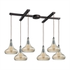 Orbital 6 Light Pendant In Oil Rubbed Bronze And Amber Teak Glass