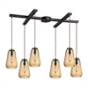 ELK lighting Orbital 6 Light Pendant In Oil Rubbed Bronze And Amber Teak Glass