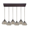 Orbital 6 Light Pendant In Oil Rubbed Bronze And Smoke Glass