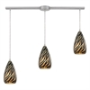 Predator 3 Light Pendant In Satin Nickel And Leopard Glass