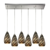 Predator 6 Light Pendant In Satin Nickel And Leopard Glass