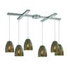 ELK lighting Fissure 6 Light Pendant In Satin Nickel And Smoke Glass