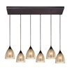 ELK lighting Layers 6 Light Pendant In Oil Rubbed Bronze And Amber Teak Glass