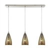 Illusions 3 Light Linear Pan Fixture In Satin Nickel With 3-D Fishscale Glass