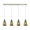 Illusions 4 Light Linear Pan Fixture In Satin Nickel With 3-D Fishscale Glass