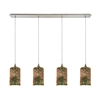 Illusions 4 Light Linear Pan Pendant In Satin Nickel With 3-D Starburst Glass