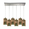 Illusions 6 Light Rectangle Pendant In Satin Nickel With 3-D Starburst Glass