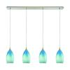 Earth 4 Light Pendant In Satin Nickel And Sky Blue Glass