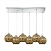 Illusions 6 Light Rectangle Fixture In Polished Chrome With 3-D Graffiti Glass