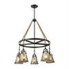 ELK lighting Hand Formed Glass 5 Light Chandelier In Oil Rubbed Bronze
