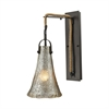 Hand Formed Glass 1 Light Wall Sconce In Oil Rubbed Bronze